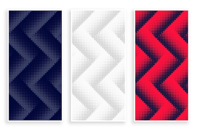 Banners em zigue-zague de meio-tom em branco, vermelho e preto