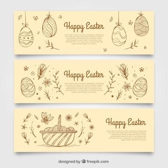 Banners esboços de ovos de páscoa