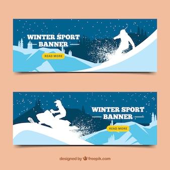 Banners esportivos de inverno com silhueta de snowboarder e scooter