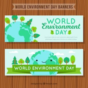 Banners fantásticos com sorrindo planeta terra para o dia mundial do meio ambiente