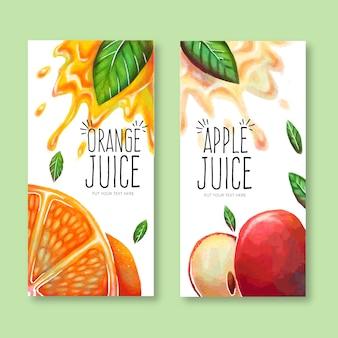 Banners fantásticos com sumos de laranja e maçã aquarela