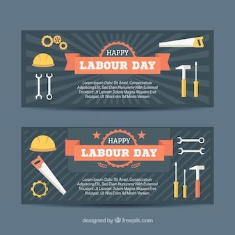 Banners fantásticos com variedade de ferramentas para o dia de trabalho