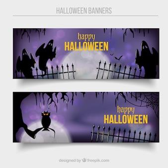 Banners feliz de halloween com efeito bokeh