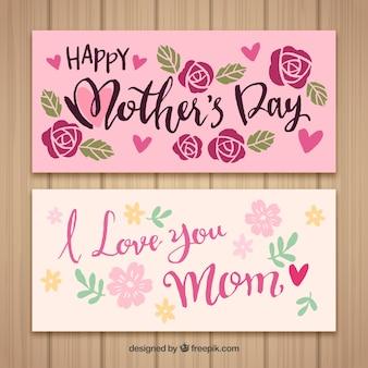 Banners feliz dia das mães eu te amo mãe