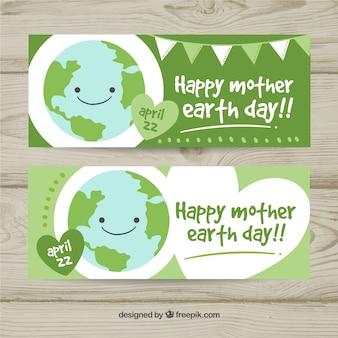Banners feliz do dia da mãe-terra