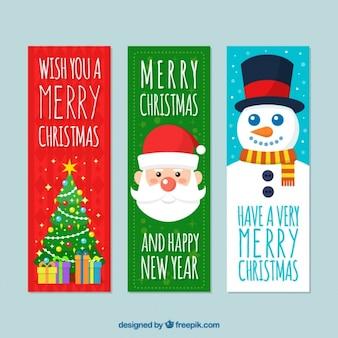 Banners feliz natal com personagens planas e uma árvore decorativa