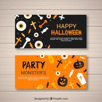 Banners felizes de halloween com elementos em design plano