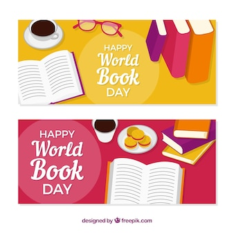 Banners felizes do dia do livro mundial em design plano