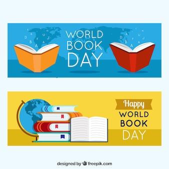 Banners felizes do dia do livro mundial Vetor grátis
