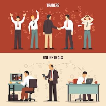 Banners financeiros de negociação