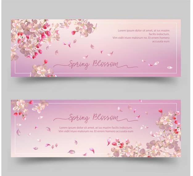 Banners florais de primavera com flor de cerejeira
