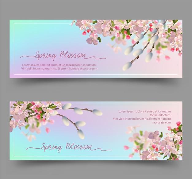 Banners florais de primavera com flores de cerejeira e ramos de salgueiro