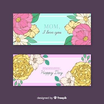 Banners florais do dia das mães