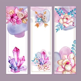 Banners florais em aquarela estilo boho
