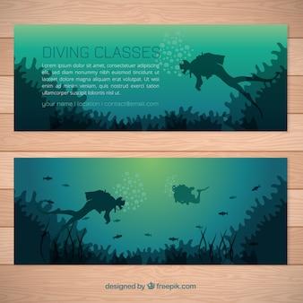 Banners fundo do mar com mergulhador