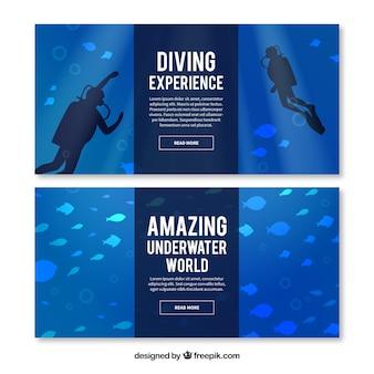 Banners fundo do mar com peixes e mergulhadores