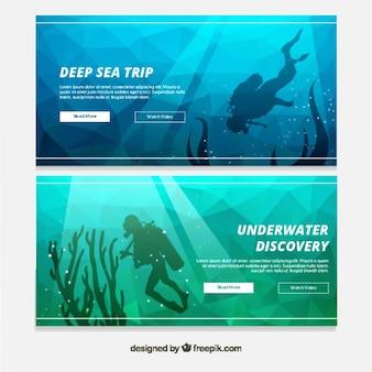 Banners geométricas com um mergulhador