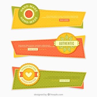 Banners geométricas de artesanato do vintage