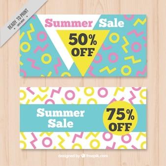 Banners geométricas de descontos de verão