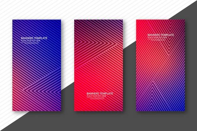 Banners geométricos coloridos elegantes conjunto modelo ilustração vector