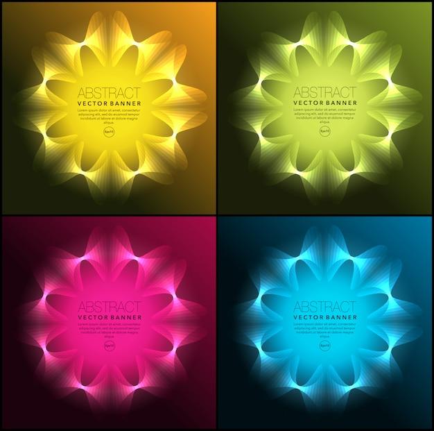 Banners geométricos de néon. isolado no painel escuro.