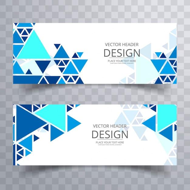 Banners geométricos modernos azuis