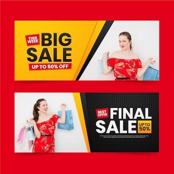 Banners gradientes de grandes vendas com foto