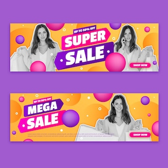 Banners gradientes de super vendas com foto