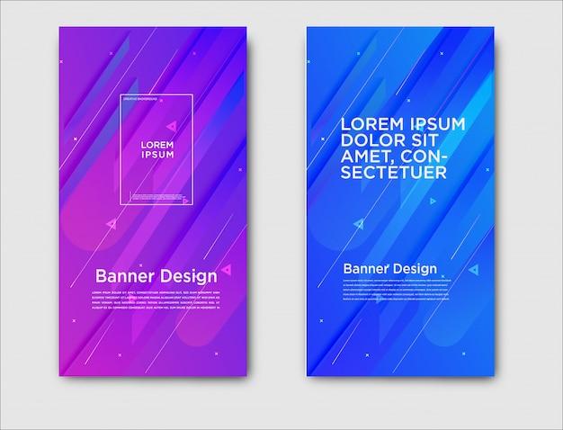 Banners horizontais abstratas com design de gradiente