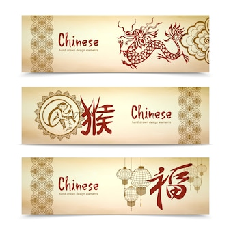 Banners horizontais chinesas