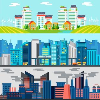 Banners horizontais coloridos da paisagem urbana