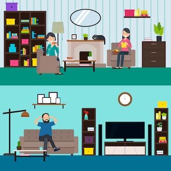 Banners horizontais coloridos da sala de estar