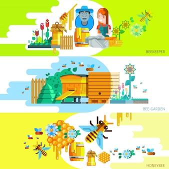 Banners horizontais coloridos de apicultura