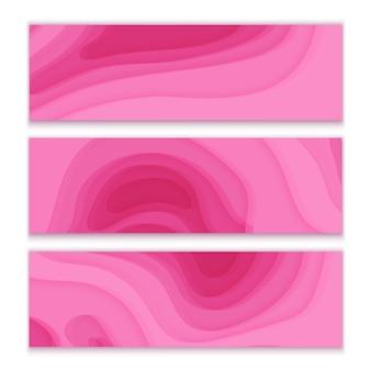 Banners horizontais com formas de corte de papel de fundo abstrato 3d de cor rosa