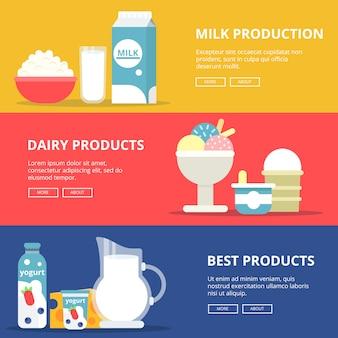 Banners horizontais com fotos de produtos lácteos leiteiros.