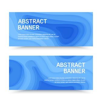 Banners horizontais com fundo 3d abstrato azul com formas de corte de papel
