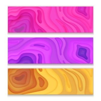 Banners horizontais com fundo abstrato 3d rosa, roxo e laranja, formas de corte de papel