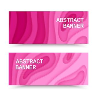 Banners horizontais com fundo rosa abstrato com formas de corte de papel layout para negócios