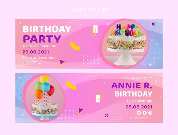 Banners horizontais com gradiente colorido de aniversário