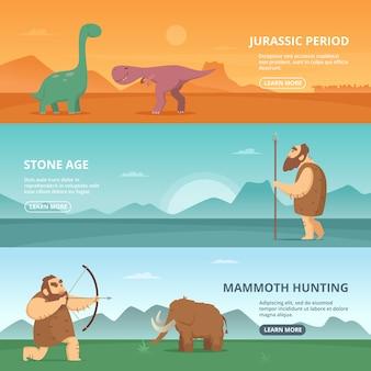 Banners horizontais com ilustrações de povos primitivos do período pré-histórico e diferentes dinossauros