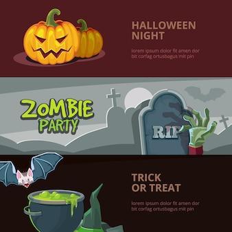 Banners horizontais com ilustrações vetoriais de halloween