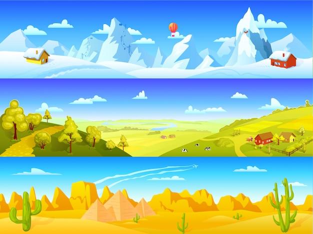 Banners horizontais com paisagem colorida