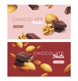 Banners horizontais com pedaços de nozes e ilustrações isoladas de chocolate