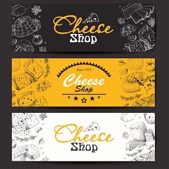Banners horizontais com queijos