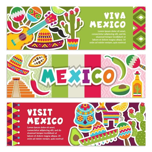 Banners horizontais com símbolos mexicanos.