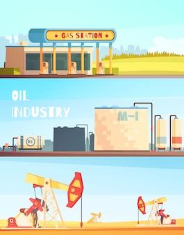 Banners horizontais da indústria de gasolina