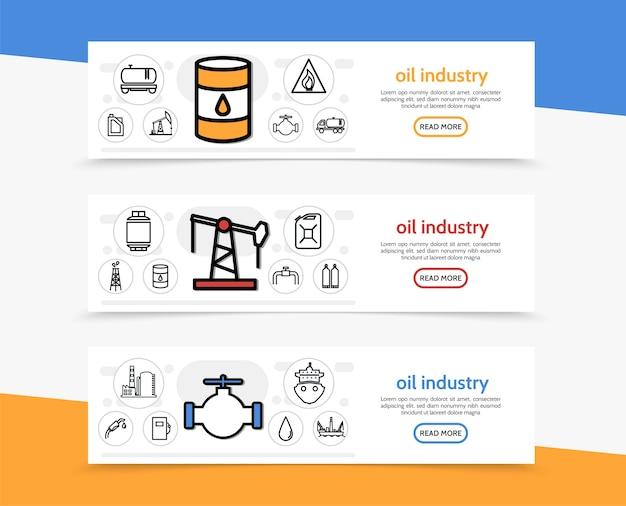 Banners horizontais da indústria de petróleo