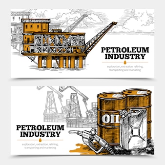 Banners horizontais da indústria do petróleo