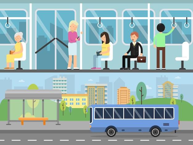 Banners horizontais da paisagem urbana com transporte e interior de ônibus com passageiros
