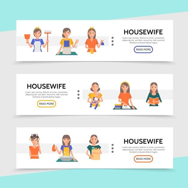 Banners horizontais da vida de dona de casa plana com cozinhar, passar roupa, limpar, lavar, procedimentos de maquiagem